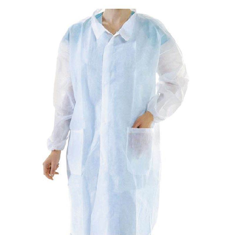 SMS / Pp Disposable Lab Coat Non Woven Kniffed Cuff Surgical Gown For Clinic