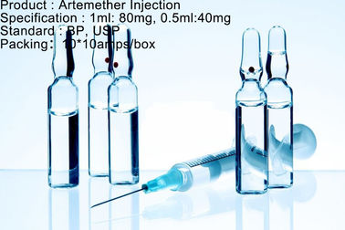 Médicament antimalarique 80mg/1ml 40mg/0.5ml d'agent d'Artemether de dosage antimalarique d'injection